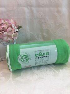 Manduka eQua Microfiber Fitness Hot Yoga Gym Towel Mat Plush 72 x 26.5 In Green