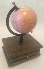 "WOOD JEWELRY BOX ROTATING WORLD GLOBE TOP 12X8X6"" INDIA"