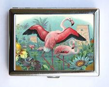 Pink Flamingos Bird Cigarette Case Wallet Business Card Holder