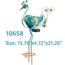 """Solor Garden - Solar Peacock Stake 21"""" - Green - Regal Art & Gift 10658"""