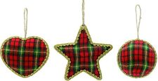 Set of 3 Tartan Hanging Tree Christmas Decorations NEW  18362