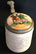 Antique 1/4 L Relief German Beer Stein Porcelain w Pewter Hinged Lid 3 Men Grape