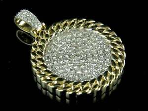 Men's 2ct Round Sim Diamond Miami Medalion Pendant 14k Yellow Gold Finish Silver