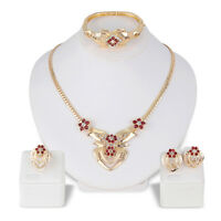 FM- Women's Wedding Rhinestone Ring Earrings Necklace Bracelet Jewelry Set Littl