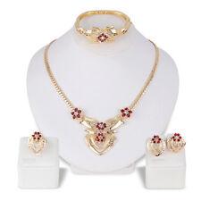 Women's Wedding Rhinestone Ring Earrings Necklace Bracelet Jewelry Set Little