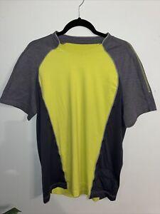 Men's Lululemon Short Sleeve Gray/yellow Shirt Cycling Running W Pocket EUC!