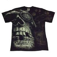 Bone T-Shirt Pirate Big Skull Rock Eagle Black Biker Mens 100%Cotton Size M L XL