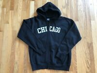 NWOT Men's Tell Activewear CHICAGO Black Heavyweight Zip Hoodie Sweatshirt Large
