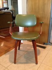 VTG Eames Era Molded Bent Shaped Wood Arm Chair Vinyl Herman Miller Thonet ?