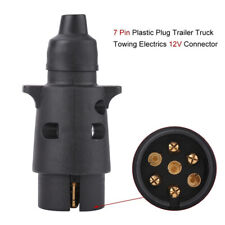 Plastic 7Pin 12V Trailer Plug Socket Wiring Connector Adapter Black Towing qnRDR