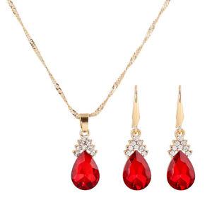Damen Schmuck Set Halskette Ohrringe Zirkonia Kristall Tropfen Strass Hochzelq