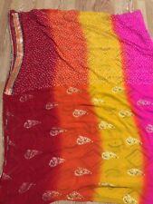 NEW INDIA saree SARI GEORGETTE BANDHANI W/ BORDER Unstitched Blouse USA SELLER