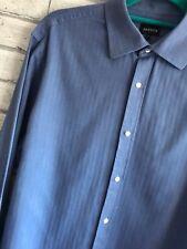"Mens Jaeger Blue Long Sleeve Shirt 100% Cotton Double Cuff 16"" Collar Large"
