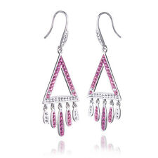 Pink Crystal Pendant Earrings 925 Sterling Silver Female Fashion Fine Jewelry