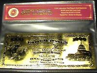 99.9% 24K GOLD 1875 $1000 BILL US BANKNOTE IN PROTECTIVE SLEEVE W COA