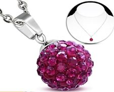 12mm Stainless Steel Argil Disco Ball Shamballa Charm Chain Necklace 45 cm chain