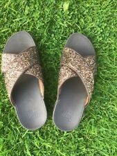 Fitflop Mule Sandals Brown wedge Sparkle mules size 5 (This season)