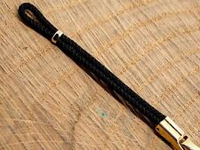 Ladies Vintage Rope Watch Band Black & Gold Tone Stainless Steel Butterfly Clasp