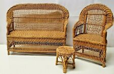 """Vintage 3 Piece Doll Rattan Wicker Furniture Set-Couch-Chair-Table-12"""" Tall"""