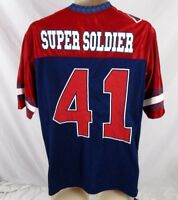 Marvel Captain America Men Shirt Jersey Super Soldier Blue Sz SM V-Neck CB43B