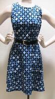 nwt womens 14 Michael Michael Kors AMALFI BLUE print dress Aline sleeveless $130