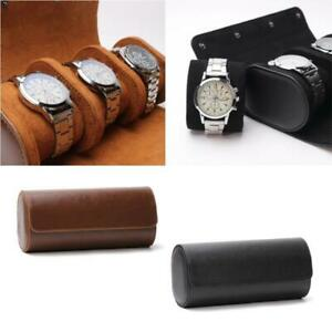 3 Slots Watch Roll Travel Case Portable Leather Watch Storage Box Slid in Out