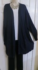 NEW Long Duster Open Front Over Top Lane Bryant Plus 18/20 (1X/2X) Blue Pockets