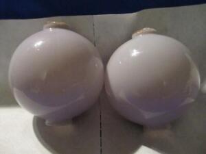"PAIR Vintage Light Purple / Violet Amethyst 4 1/2 "" Round Lightning Rod Balls"