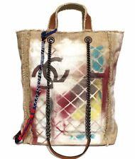 RARE Auth CHANEL Print Canvas Tote Bag Act 2 2014 Spring Summer Graffiti 381007