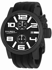 Haurex Italy Men's 6N506UWN TURBINA II Chronograph Black Silicone Date Watch