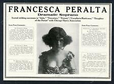 1918 Frances Peralta photo as Aida opera singing recital promo trade print ad