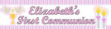 4ft Personalized Name Pink Religious First Communion for Girl Party Banner