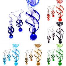 Swirl Handmade Lampwork Murano Glass Bead Pendant Earrings Ribbon Necklace Set