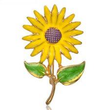 Pin brooch Enamel Sunflower gold tone elegant beautiful Gift AD