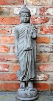 Tall Standing Thai Buddha Ceramic Garden Outdoor Indoor Statue Ornament  Grey