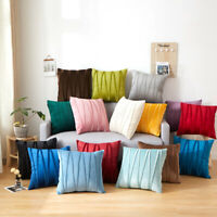 Velvet Striped Pillow Cover Cases Home Sofa Pillowcases Cushion Covers 9 Colors