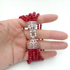 8'' 7 RowsRed Jade Bracelet Cz Clasp