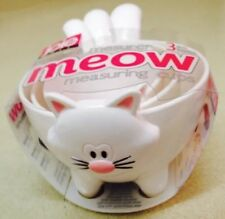 Joie Meow White Cat 3 Nesting Baking Measuring Cups Set New