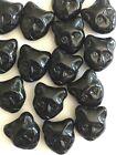 14 Czech Glass Halloween Black Cat Head Beads Fancy Fall Novelty Shape Jewelry