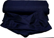 100% Pure Dupioni Silk Hand Loomed Fabric From India Sell By Yard Navy Blue