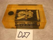 D27 VINTAGE J-38 TELEGRAPH MORSE CODE COMMUNICATIONS KEY ENCASED IN LUCITE