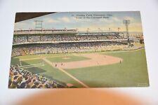 Vintage LINEN POSTCARD Crosley Field CINCINNATI REDS Baseball Union News C.T Art