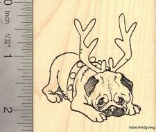 Pug Dog Reindeer, Christmas Rubber Stamp J14702 WM