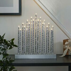 29cm Silver Aluminium Battery Power LED Christmas Candle Bridge Arch Lights Xmas