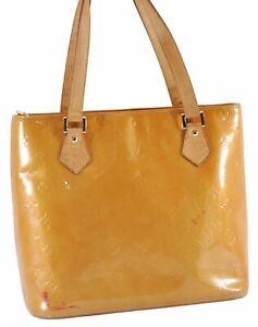 Authentic Louis Vuitton Vernis Houston Shoulder Bag Yellow LV D3913
