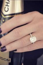 Certified 3.20ct Sparkling Cushion Diamond Engagement Ring Solid 14K White Gold