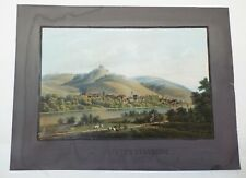 SMALL Antique UNTERTURKHEIM Germany WATERCOLOR PAINTING Signed HIERRIOSSA