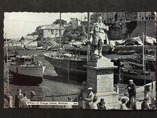Vintage Postcard - Devon #23 - RP William Of Orange Statue, Brixham + Sailboats
