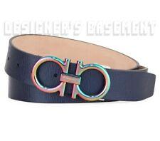 SALVATORE FERRAGAMO blue Leather 36 Iridescent GANCINI buckle belt NWT Auth $395