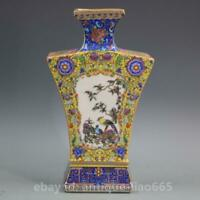 "10.4"" Fine Chinese Colour Enamels Porcelain Flowers Birds Ornament Bottle Vase"